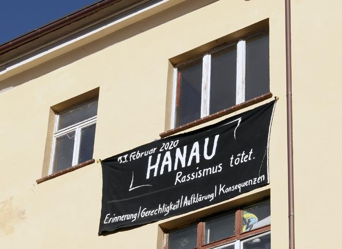 Transparent Februar 2021, Gedenken an die rassistischen Morde von Hanau